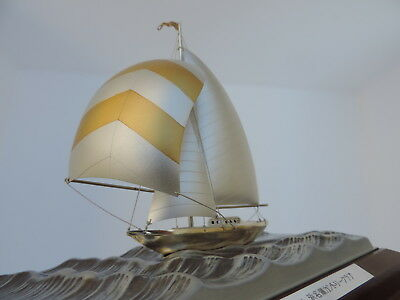 FINEST JAPANESE SIGNED STERLING SILVER 985 MODEL SAILBOAT SHIP TAKEHIKO 70gr