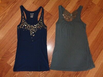 Lot 2 Juniors Tank Tops Mossimo Blue T Back Kirra Gray Butterfly  Rayon Euc Sz S