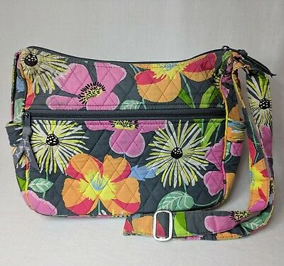 Vera Bradley Jazzy Blooms gray floral quilted cotton bag - Pre-loved