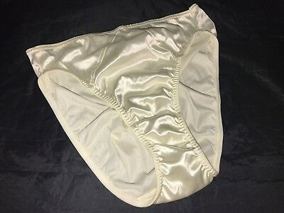 New Victoria's Secret Vtg Second Skin Satin Ivory Hipster Panties Sz L