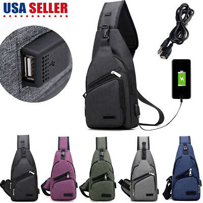 Men Canvas Messenger Shoulder Bag Sling Chest Pack Crossbody Cycle & USB Port