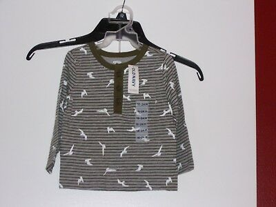 Old Navy Baby Boys 18-24 Months Long Sleeve Polo Shirt Featuring Birds / New