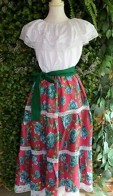 Small/medium Women's 2 Piece Mexican Dress/adelita/5 De Mayo/floral/red/flowers