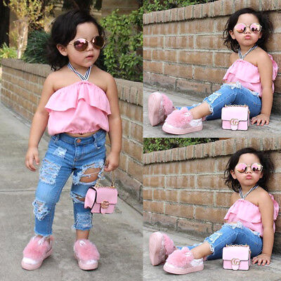 2PCS Toddler Kids Baby Girl Off Shoulder Top Denim Hole Pants Outfit Clothes USA