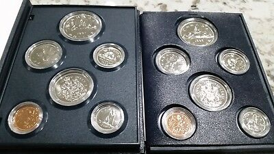 1985 & 1987 Royal Canadian Mint 6 Coin Sets Uncirculated Case Canada Proof-like