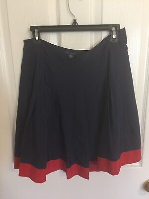 Tommy Hilfiger Pleated Skirt Navy Blue and Red size 8 M medium short formal