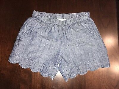 Hanna Andersson Chambray Shorts With Scalloped Edges size 130