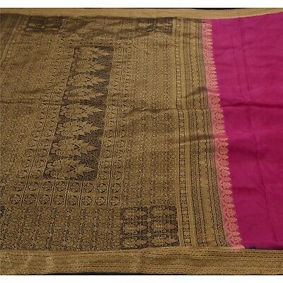 Sanskriti Antique Vintage Indian Saree 100% Pure Silk Woven Fabric Pink Sari