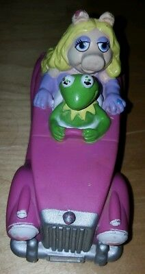 1988 Collectible MUPPETS Miss Piggy And Kermit Plastic Rubber Car Toy