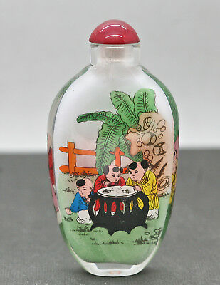 Superb Vintage Hand Painted Inside Painting Chinese Glass Snuff Bottle c1960s