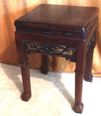 Antique Chinese Fang Deng Hardwood Wood Corner Stool Table Stand