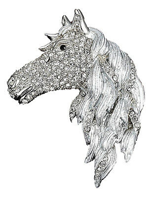 Horse Brooch Large Silver base with Rhinestones 7cm High