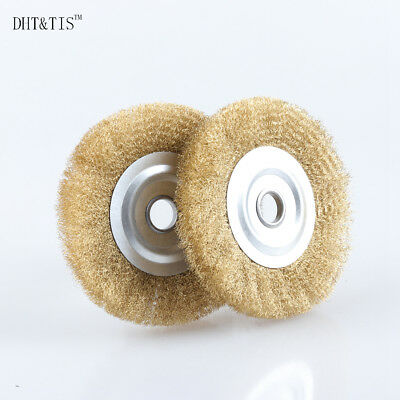 "2pcs 5"" Arbor Hole Crimped Brass Wire Wheel Brush for Metal Derusting Polishing"