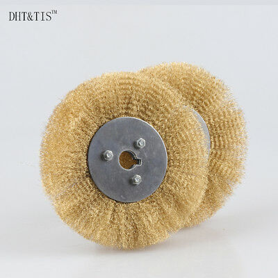 2pieces 150mm*16mm Arbor Hole Crimped Brass Wire Wheel Brush 0.15mm Wire