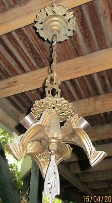 Art Deco Slip Shade Three Bat Wing Style Shade Chandelier Fixture