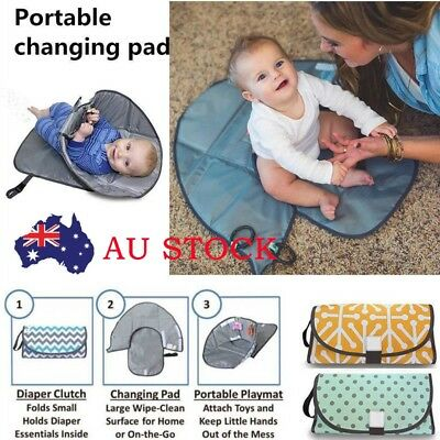 Clean Hands Changing Pad Portable Baby 3in1 Cover Mat Folding Diaper Bag Kit cl
