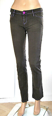 Jeans Donna Pantaloni JFOUR J4 Made in Italy LU099 Marrone Scuro Tg 25 26 28 31