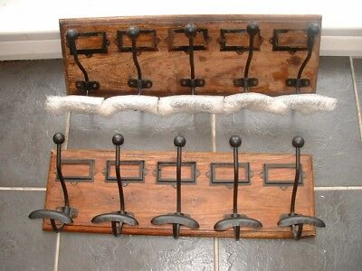 Old French School Coat Hooks.2 Sets Of5 Both On Hardwood Backs