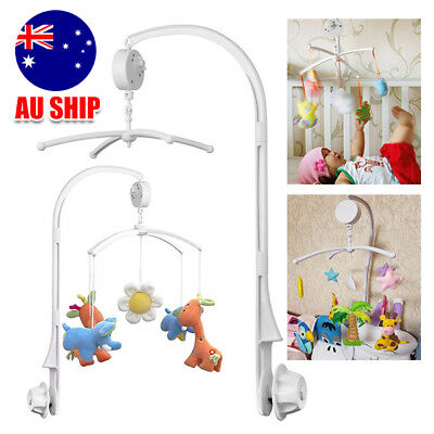 Baby Crib Mobile Bed Bell Toy Holder Arm Bracket + Wind-up Music Box DIY White