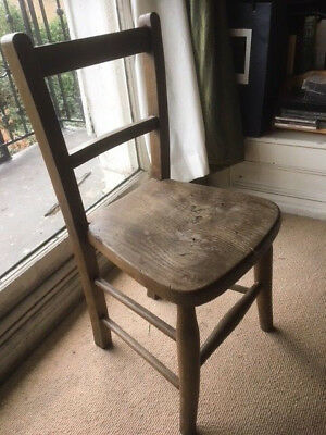 LOVLEY OLD  antique wooden childs chair from old convent school