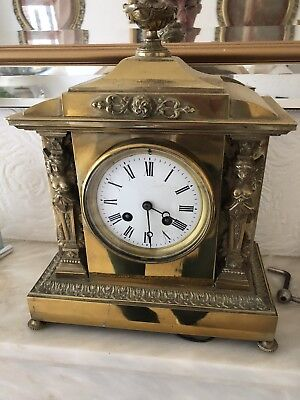 Beautiful Antique Brass Mantle Clock