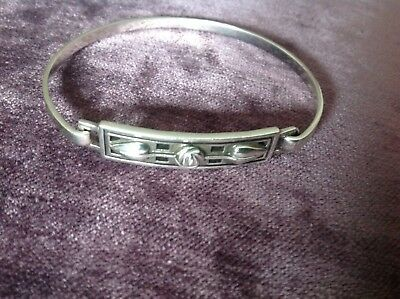 Ladies Art Deco Style Silver Bangle