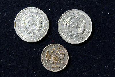 Russia Soviet Union  1915, 1928, 1930 Lot Of 3 Coins 10Kop And Two 20 Kop Silver
