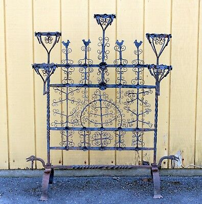Antique Spanish Colonial Mexican Wrought Iron Yellin Fire Screen Plant Stand