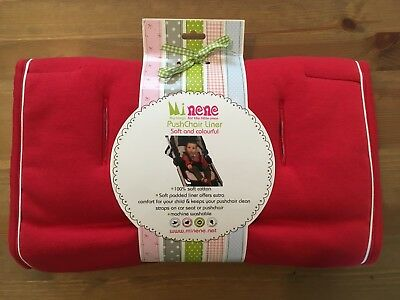 Minene Pushchair/Stroller/Car Seat Liner Red 100% Soft Cotton Product No 2057