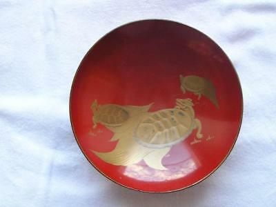Antique Japanese lacquer sake cup with turtles 1900-15 #4391C
