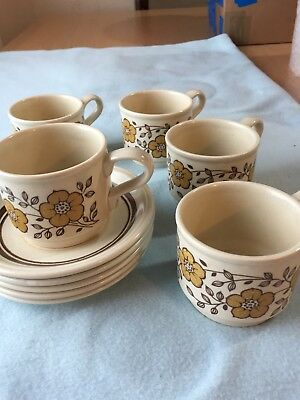 VINTAGE BILTONS STAFFORDSHIRE Pottery Cups & saucers set of 5 floral ...