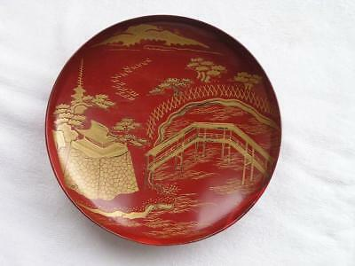 Antique Japanese lacquer sake cup with landscape 1900-15 A/F #4394