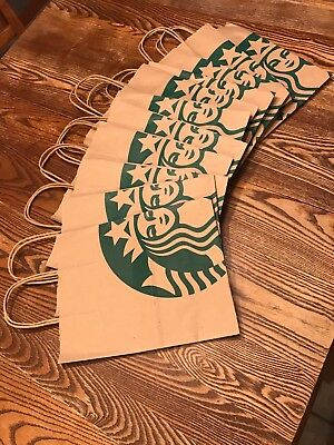 (11x) Starbucks Reusable Brown Kraft Paper Shopping Lunch Gift Bags With Handles
