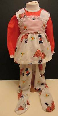 girls vintage pyjamas new 70's orange dog logo floral mini hippie age 1