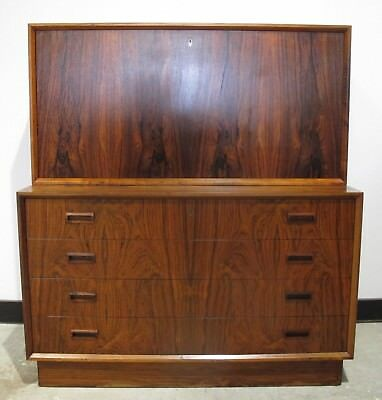 DANISH MODERN 1960s ROSEWOOD CHEST OF DRAWERS / DESK mid century dresser cabinet