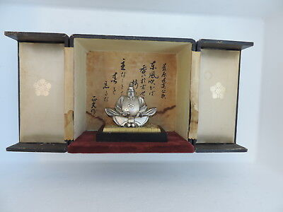 Rare Antique Japanese Solid Sterling Silver Michizane God Deity Of Scholarship