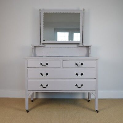 Vintage Dressing Table, Painted Grey Dressing Table, Antique Chest of Drawers