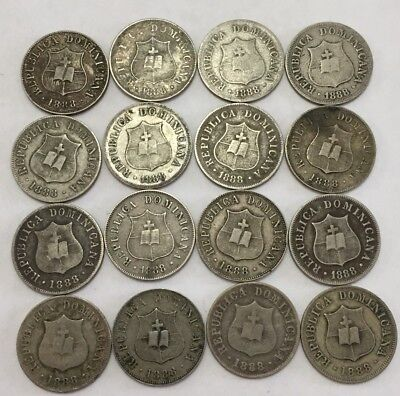 Dominican Republic 1888 2 1/2 Cents  Lot Of 16 Coins. Nice Condition!!