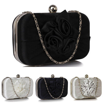 Ladies Satin Pleated Flower Front Clutch Bag Womens Evening Prom Party Purse New