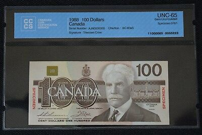 1988 $100 SPECIMEN Bank Of Canada BC-60aS CERTIFIED CCCS GEM 65