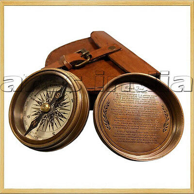 Best Antique Vintage Style Brass Pocket Compass W Leather Case Campaignin Hiking