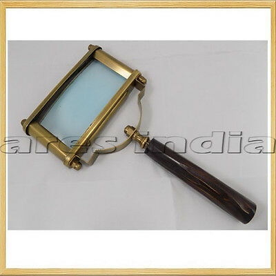 New Antique Vintage Style Brass Rectangle Magnifying Glass Unique Magnifier Lupe