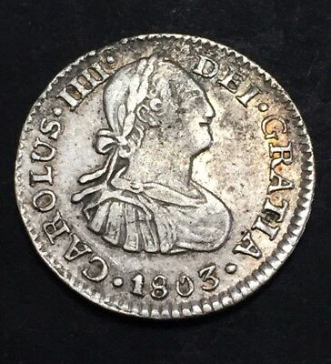 Spain Mexico 1803 Silver 1/2  Real Coin.