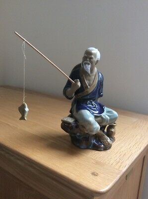 Vintage Chinese Mud Man Ceramic Figurine With Rod And Fish