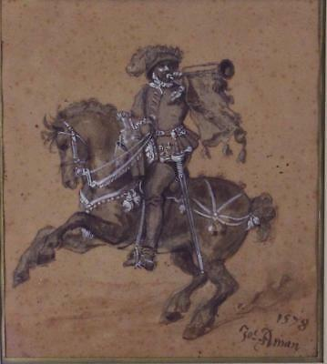 16thC Antique 1578, Jos. Aman, Ink & Watercolor Painting, Horse & Trumpeter. NR