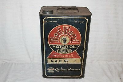 Rare Vintage Red Head Redhead Motor Oil 2 1/2 Gallon Metal Can Gas Station Sign