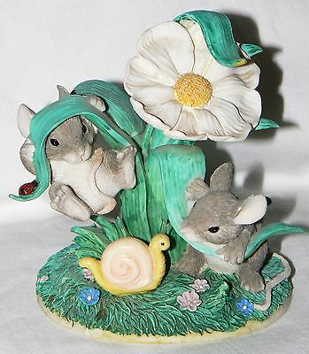 """Dean Griff Charming Tails """"Hangin' Around"""" mice flowers snail Fitz & Floyd"""