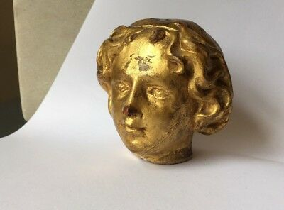 Antique gilt wood carving head bust putti angel fragment wooden 18th - 19th C