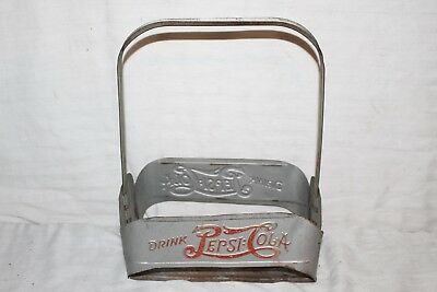 Vintage 1940's Pepsi Cola Double Dot Soda Pop Embossed Metal Bottle Carrier Sign
