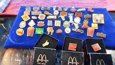 Vintage Lot of 47 McDonald's Employee Crew Lapel Pins Pinbacks Some Hard to Find